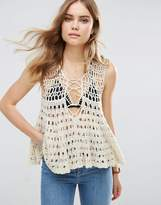 Free People Circles Within Crochet Knit Lace Up Tank Top