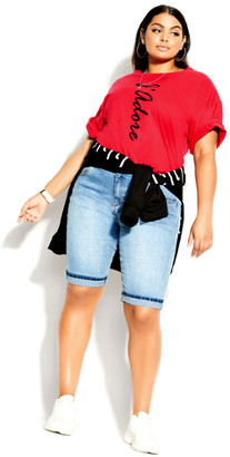City Chic Phrases Tee - red