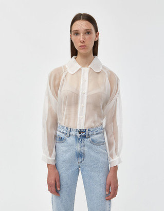 Rita Row Women's Venice Organza Blouse in White, Size Medium | Polyester/Cotton