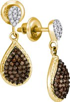 Saris and Things 10kt Yellow Gold Womens Round Cognac- Colored Diamond Teardrop Dangle Earrings 1/2 Cttw