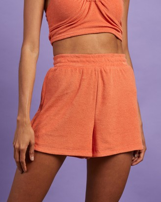 Dazie - Women's Orange High-Waisted - Britney's Back Terry Towelling Shorts - Size 6 at The Iconic
