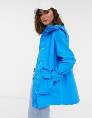 J.Crew perfect hooded rain jacket in blue