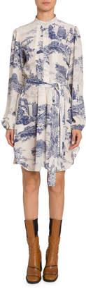 Chloé Long-Sleeve Toile-Print Chiffon Dress