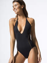 Jonathan Simkhai Pearl Studded Lace Up Back Swimsuit