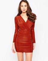 AX Paris Long Sleeve V Front Dress in Slinky