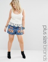 Alice & You Denim Shorts With Butterfly Floral Embroidery