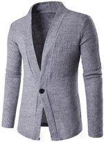 Whatlees Mens Casual Long Sleeve One Button Designer Solid Wool Blend Slim Fit Outwear Cardigan -S