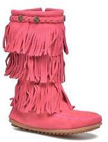 Minnetonka Kids's 3-Layer Fringe Boot E Zip-up Boots in Pink