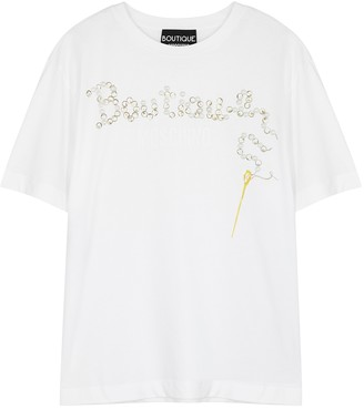 Boutique Moschino White Logo-print Cotton T-shirt