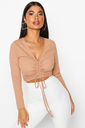 boohoo Petite Long Sleeve Ribbed Ruched Detail Top