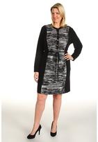 Calvin Klein Plus Size Color Block Shirt Dress (Black Multi) - Apparel