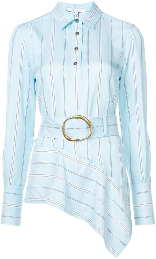 Derek Lam 10 Crosby Long Sleeve Belted Asymmetrical Shirt