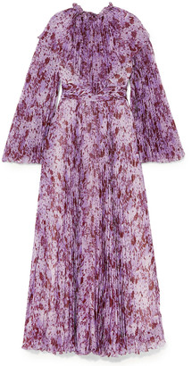 Giambattista Valli Pleated Printed Silk-chiffon Maxi Dress