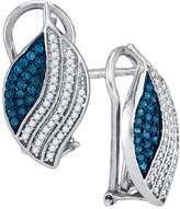 DazzlingRock Collection 1/2 Total Carat Weight BLUE DIAMOND MICRO-PAVE EARRING