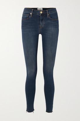Frame Le Skinny De Jeanne Slit Rivet Mid-rise Jeans - Dark denim