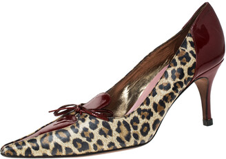 Dolce & Gabbana Leopard Print Leather Vintage Bow Pointed Toe Pumps Size 37.5