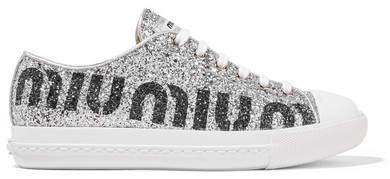 Miu Miu Logo-print Glittered Leather Sneakers - Silver