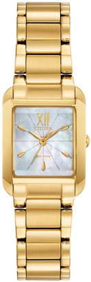 Citizen Eco-Drive Women Bianca Gold-Tone Stainless Steel Bracelet Watch 22mm