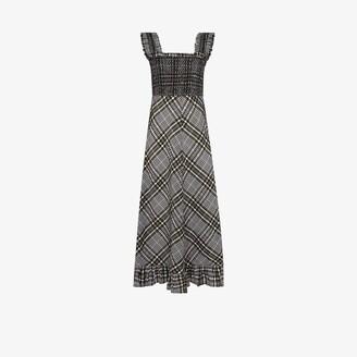 Ganni Checked Seersucker Midi Dress