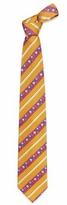 Ken Scott Orange & Blue Flower Striped Woven Silk Tie