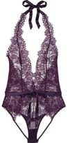 L'Agent by Agent Provocateur Idalia Satin-trimmed Lace Bodysuit - Purple