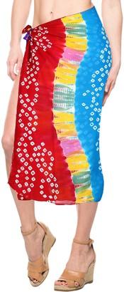 LA LEELA Tie Dye Resort Bikini Wrap Bathing Suit Dress Pareo Sarong Beach wear Cover-ups Blood Red