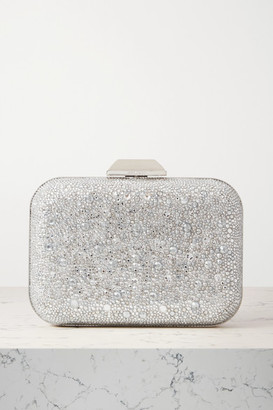 Jimmy Choo Cloud Crystal-embellished Metallic Suede Clutch - Silver