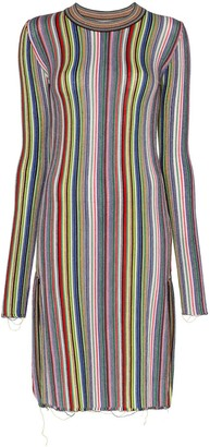 Marques Almeida Long Sleeve Striped Wool Dress