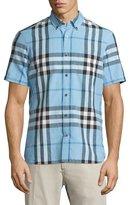 Burberry Linen-Blend Exploded Check Short-Sleeve Shirt, Pale Blue