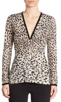 Roberto Cavalli Cheetah Wool & Silk Blouse