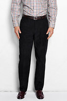 Lands' End Men's Plain Front Traditional Fit 10-wale Corduroy Trousers-Velvet Plum Paisley Print