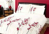 N. 'Oriental Flower' Double Duvet Cover Set in Red, Includes: 1x Double Duvet Cover and 2x Pillowcases