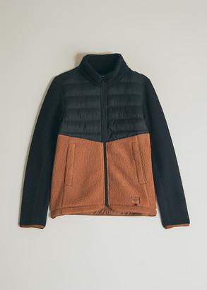 Herschel Women's W Hybrid Zip Jacket in Poly Bk/Saddlbr, Size Extra Small | Fleece