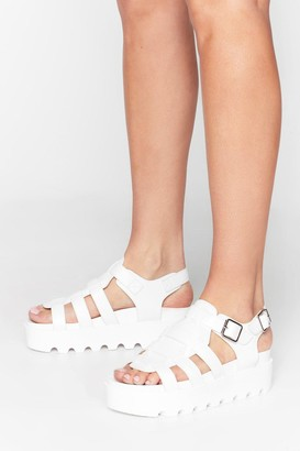 Nasty Gal Womens White Faux Leather Cleated Sandals with Straps