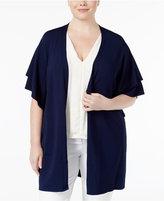 Belldini Plus Size Ruffle-Sleeve Duster Cardigan