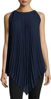 Max Studio Sleeveless Accordion Pleated Tunic, Navy