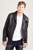 True Religion Mens Patched Leather Biker Jacket