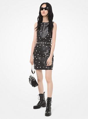 Michael Kors Dome Studded Leather Sheath Dress