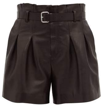 RED Valentino Belted High-rise Leather Shorts - Womens - Black