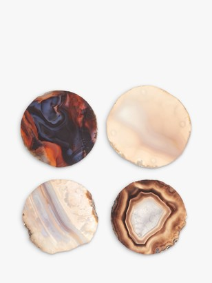 John Lewis & Partners Agate Coasters, Set of 4, Assorted Colours
