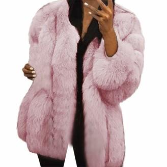 Toamen Women Womens Coat Toamen Luxurious Faux Fur Warm Furry Jacket