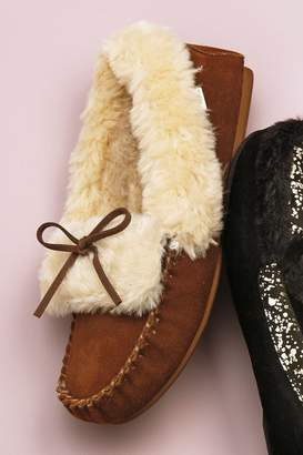 Next Womens Chestnut Premium Suede Moccasin Slippers - Brown