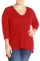 Halogen V-Neck Cashmere Sweater (Plus Size)