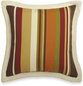 Bed Bath & Beyond Square Outdoor Throw Pillow with Trim in Chocolate Stripe