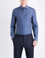 Corneliani Linen-pattern tailored-fit cotton shirt