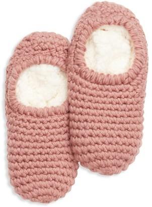 Eberjey Faux Fur-Lined Knit Slipper Socks