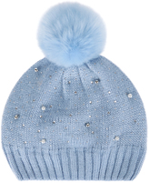 Monsoon Fleece Lined Sparkle Bead Pom Pom Beanie