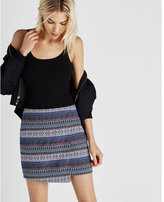 Express asymmetrical jacquard wrap front mini skirt