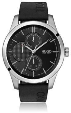 HUGO BOSS Multi-eye watch with logo-embossed leather strap