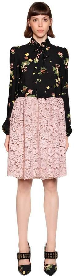 Antonio Marras Bow Collar Viscose Crepe & Lace Dress
